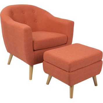 Rockwell Mid-Century Modern Chair with Ottoman, Orange