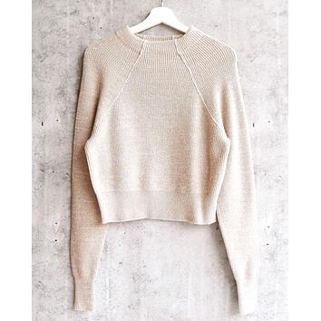 Free People - Too Good Ribbed Trim Pullover Sweater - Taupe b32d2d041