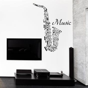 Vinyl Decal Wall Sticker Word Clouds Music Notes Shape Saxophone (n966)