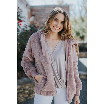 Furry Hooded Jacket, Dusty Pink