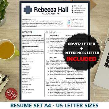 Nurse Resume Template, Medical Resume, Nursing CV, Instant Download, Mac & PC, Cover Letter Templates Word, Pharma Simple Resumes, Health
