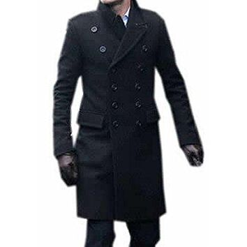 ARRIVE GUIDE Mens Double Breasted Jacket Wool Blend Pea Coat