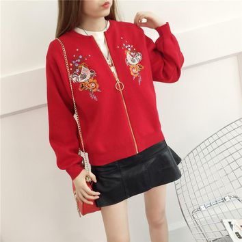 Autumn Embroidered Knitwear Fashion Women's Clothing Zipper Cardigan Solid Color Sweater All Matched Knitted Outer Garment