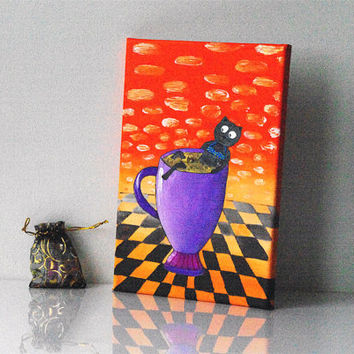 Painting of coffee cup Cat and coffee art Funny kitchen decor Purple orange canvas painting for home decor Gift idea for coffee lover