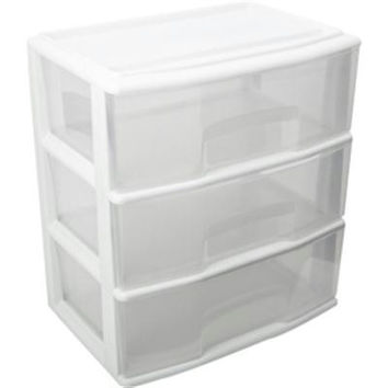 Large Three Drawer Cart White  C