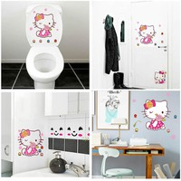 5pcs/Set Cute Hello Kitty Toilet Sticker Door Wall Cabinet Drawer Decorative Sticker For Home Bathroom Kid's Room Decoration