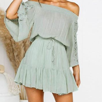 Cassie Off-the-Shoulder Winged Sleeve Dress