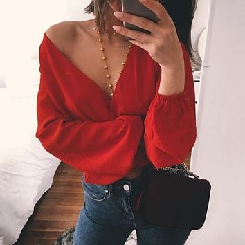 LDZHPS 2018 summer women's sexy deep V-neck back bow chiffon Blouse Casual Lantern Sleeves Back hollow Tops Beach shirts