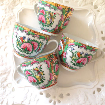 Vintage Asian Canton Teacups Set of 4 Famille Vert Rouge Pattern Hand Painted Bridal or Bachelorette Favors Little Princess Birthday Party
