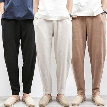 Chinese Traditional Male Summer Beach Flax Hemp Loose Drawstring Jogger Trousers Linen Pants Men Plus Size 5XL Black Beige Cream