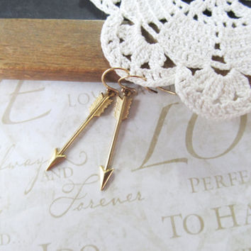 SHOT through the heart brass arrow earrings gold by brideblu