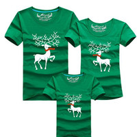 Christmas Family Look New 2016 Deer Mommy and Me Clothes Matching Family Clothing Sets Mother Daughter Father Baby T-Shirt