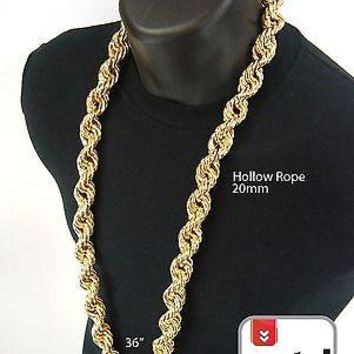Jewelry Kay style Men's Hip Hop Iced Out Gold Finish Hollow Chunky Rope Chain Necklace 20 mm 36""
