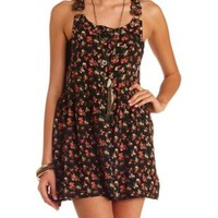 Button-Up Floral Print Skirtall by Charlotte Russe - Black Combo