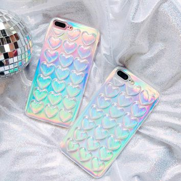 Luxury laser shinning love hearts glitter Phone Case