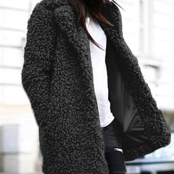 New Black Faux Fur Pockets Turndown Collar Long Sleeve Casual Coat