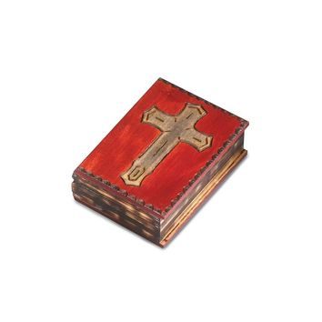 Wooden Mahogany Finished Cross Book Box - Perfect Religious Gift