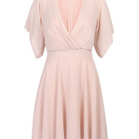 Pink High Neck Cut Out Front Wrap Detail Dress