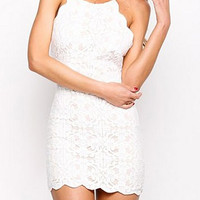 White Spaghetti Strap Lace Mini Dress