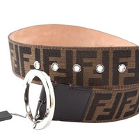 Fendi Hot Buckles Authentic Ff Zucca Print Round Buckle Leather Belt Brown