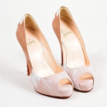 DCCK Tan and Blush Print Suede Christian Louboutin  Very Prive Woodstock  Heels