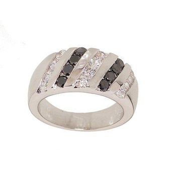 Polished Silvertone Diagonal Set Black and White CZ Striped Fashion Ring