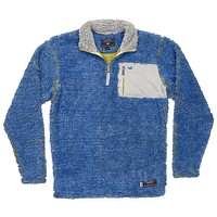 Piedmont Range Sherpa Pullover in French Blue and Mustard by Southern Marsh - FINAL SALE