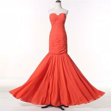 New Girl Sweetheart Orange Chiffon Long Mermaid Bandage Dress Lady Office Sexy Prom Dresses