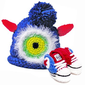 Crocheted Baby Booty Sneakers & Matching Knitted Baby Hat - Blue