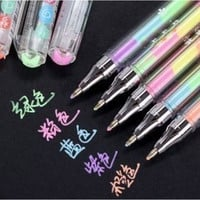 5 pcs/lot 6 colors in 1 pen Cute Kawaii Watercolor Gel Pen Water Chalk Pen for Black Board Scrapbooking Photo 534