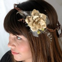 WOODLAND BRIDE wooden flower natural crown by naturallyinspired