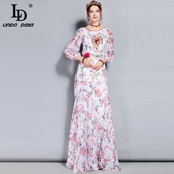 LD LINDA DELLA 2018 Fashion Runway Maxi Dress Women's Long Sleeve Belt Sequin Beading Floral Appliques Print Elegant Long Dress