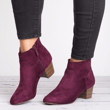 Seattle Faux Suede Boots - Wine