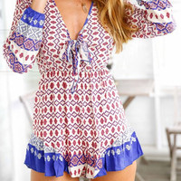 Ethnic V-Neck Long Sleeve Romper