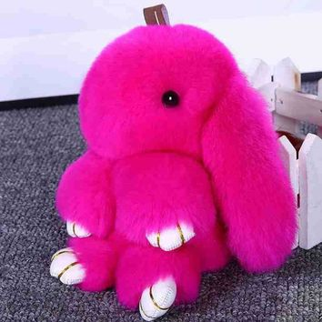 AOJUN Bunny Keychain Cute Rabbit Fluffy Key chain Rex Fur Pompom Key Ring Pom Pom Toy Doll Bag Charm Car Key Holder