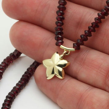 Gold Garnet necklace, 14k solid gold star pendant necklace, red Garnet strand, January birthstone jewelry