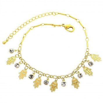 Gold Layered 03.63.1301.08 Charm Bracelet, and Filigree with White Cubic Zirconia, Polished Finish, Golden Tone