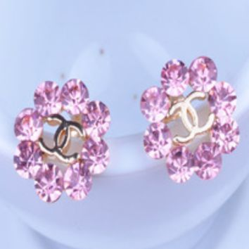 CHANEL New fashion floral earrings with shining diamonds women flower earring Pink