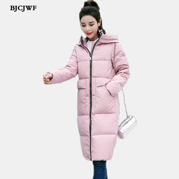 Women`s Down Jacket Winter Long Parka with Large zipper Hooded Thickened white duck Down Coat Waterproof Anorak Quilted Jackets