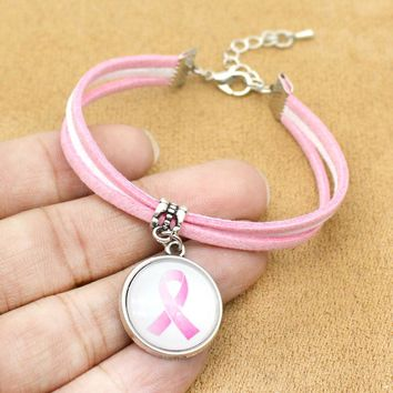 Awareness  Ribbon Charm Bracelet With Card