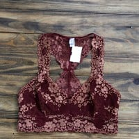 Two-Toned Bralette, Burgundy/Caramel