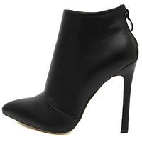 Black Vegan Leather High Heeled Pointed Booties