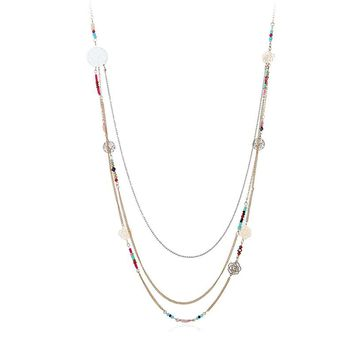 New Fashion Bohemian Jewelry Gold-color Colorful Beads Multi-layer Necklace For Women Hollow Out Life Tree Flower Long Necklace