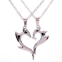 """Yazilind 2pcs Mens Womens Puzzle Stainless Steel Love Pendant Couple Necklace Gift 17"""" (Color: Ivory) = 1929828356"""