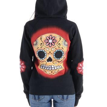 "Women's ""Muerte"" Zip Up Hoodie by Angry Blossom (Black)"