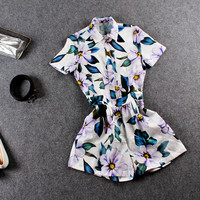 Floral Print Doll Collar Button Down Romper