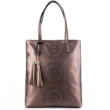 Minch Tassels Leather Designer Handbags-Perforated Tote Shoulder Bags for women work