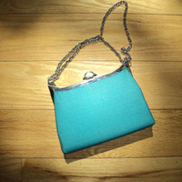Vintage AQUA SILK PURSE Shoulder Bag or Cross Body Bag with great metal chain strap in Mint Condition