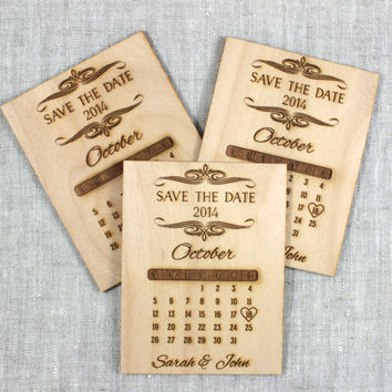 Wood Save the Date Calendar - Ornate Scroll - Personalized Save the Date Wedding Magnet