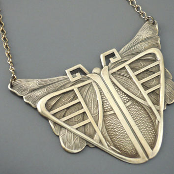 Art Deco Necklace - Vintage Necklace - Butterfly Necklace - Statement Necklace - handmade jewelry
